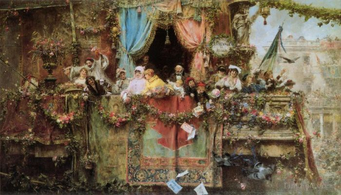 Jose Benlliure y Gil Oil Painting - A Carnival In Rome