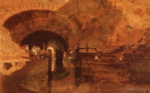 Antique Various Paintings - A Canal Tunnel Near Leeds