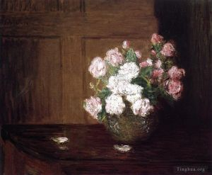 Artwork Roses in a Silver Bowl on a Mahogany Table flower still life