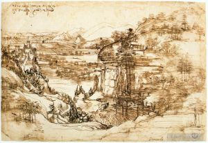 Antique Various Paintings - Landscape drawing for Santa Maria della Neve on 5th August 1473