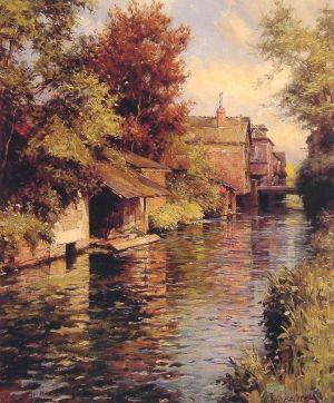 Antique Oil Painting - Sunny Afternoon on the Canal