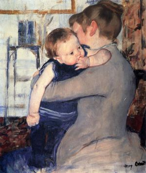 Antique Oil Painting - Mother And Child 1889