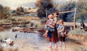 Antique Oil Painting - Children Paddling In A Stream