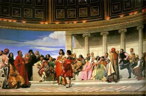 Antique Oil Painting - Hemicycle of the Ecole des BeauxArts 181left life size
