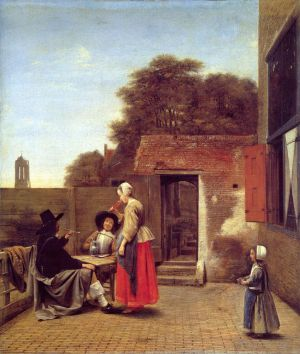 Antique Oil Painting - A Dutch Courtyard