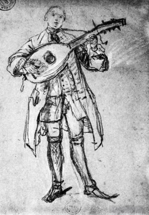 Antique Various Paintings - Lute Player
