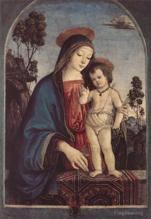 Antique Oil Painting - The Virgin And Child