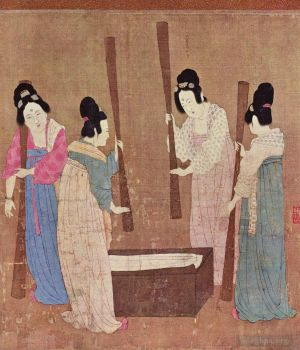Antique Chinese Painting - Women preparing silk after zhang xuan 1100