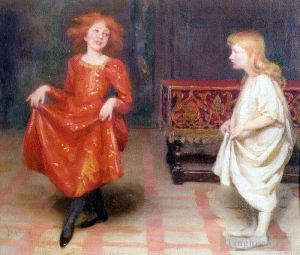 Antique Oil Painting - The Dancing Lesson