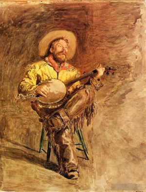 Antique Various Paintings - Cowboy Singing