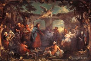 Antique Oil Painting - The Pool of Bethesda