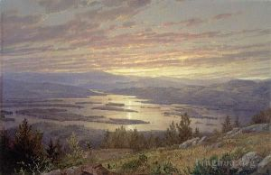 Antique Oil Painting - Lake Squam from Red Hill MMA