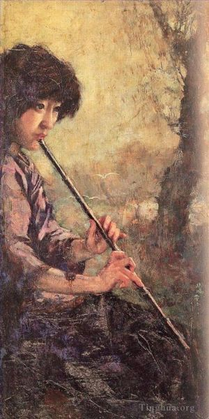 Antique Oil Painting - The sound of the flute